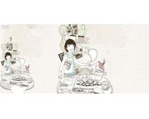 卡通人物餐廳插畫PSD素材