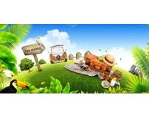 环保地球自然景色PSD素材