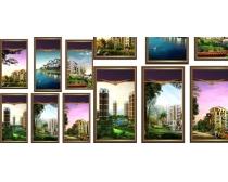 城市建筑楼房展板矢量素材