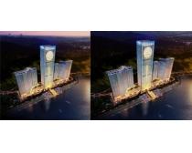 商业大厦鸟瞰建筑图PSD素材