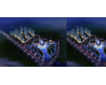 鸟瞰建筑夜景图PSD素材