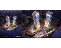大厦建筑景观鸟瞰图PSD素材
