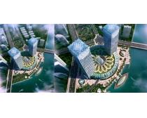 城市鸟瞰俯视大厦建筑PSD素材