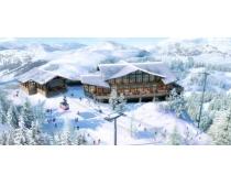 雪地房屋景观PSD素材