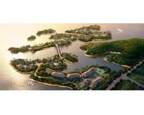 海岛别墅景观鸟瞰图PSD素材