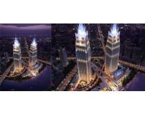 城市大厦夜色景观PSD素材