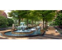 水池喷泉环境景观PSD素材