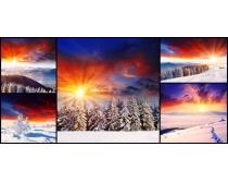 雪地夕阳风景高清图片