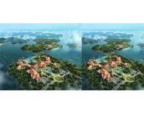 小岛房屋建筑鸟瞰效果图PSD素材