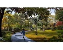 公园休闲小道景观PSD素材