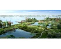景观园林鸟瞰图PSD素材