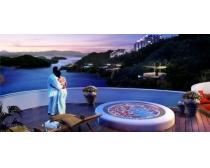 浪漫的海边楼房风景PSD素材