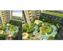 鸟瞰小区绿化环境PSD素材