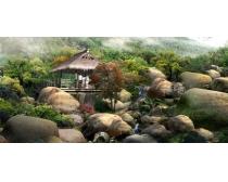 旅游园林景观效果图PSD素材