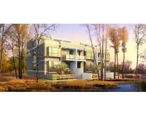 树林里的楼房建筑景观PSD素材