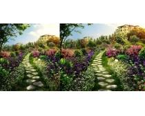 园林式花园建筑景观PSD素材