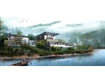 河流景观建筑PSD素材