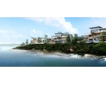 海边建筑别墅景观PSD素材