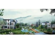 古典式园林建筑楼房景观PSD素材