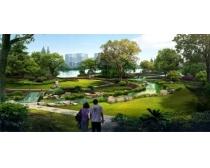 公园绿化环境景观效果图PSD素材