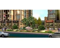 商业街道建筑景观设计PSD素材