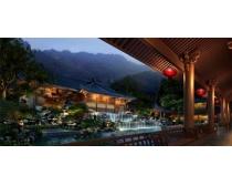 古典中国风房屋景观PSD素材