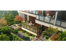 复式楼房环境景观建筑PSD素材
