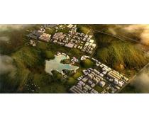鸟瞰园林建筑图PSD素材