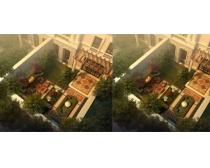 别墅后花园一览图景观PSD素材