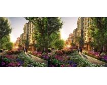 花园式洋房环境景观PSD素材