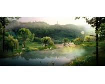 公园绿化湖水景观PSD素材
