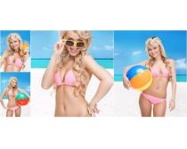 沙滩排球泳装美女图片素材