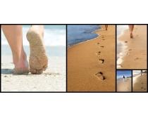 沙滩上的脚印高清图片