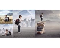 背着书包的男孩图片素材