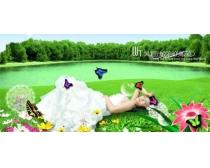 湖畔风景封面广告设计PSD素材