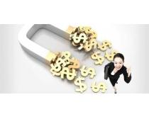 商務女性與磁鐵PSD素材