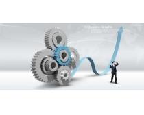 科技齿轮与商务人士PSD素材