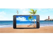 大海风景与手机图片PSD素材