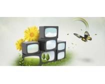 叠层的电视与蝴蝶PSD素材