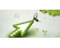 绿色箭头环保广告PSD素材