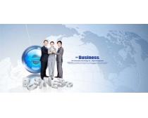 科技地图与商务人物PSD素材