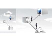 现代网络与梯子上的男人PSD素材