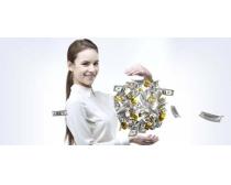 纸币球型与女性PSD素材