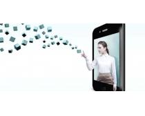 手机屏幕里的美女PSD素材