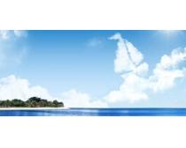 蓝色大海风景PSD素材