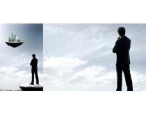 创意商务男人与建筑PSD素材