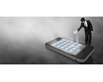 苹果手机与商务男人PSD素材