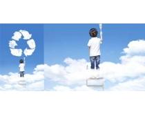 环保标志云与小孩PSD素材