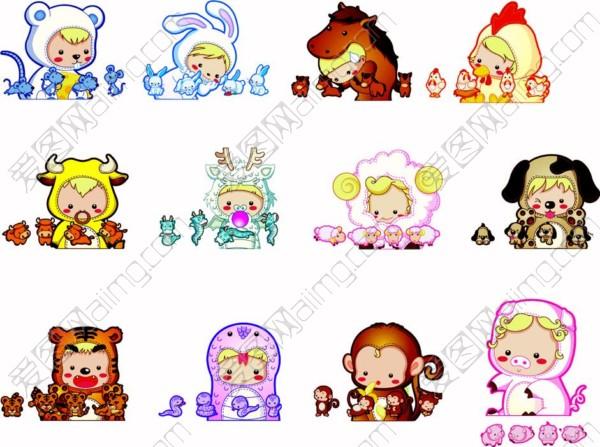 爱图首页 矢量素材 人物卡通 可爱素材 卡通生肖 q版生肖 12生肖 猴子