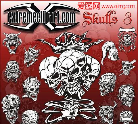 矢量素材 设计元素 > 素材信息   关键字: 骷髅头超酷元素服装印花